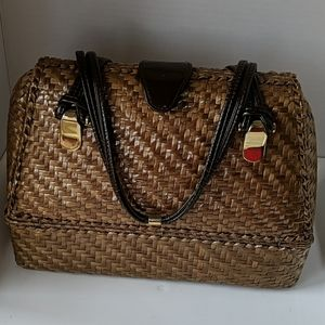 Rodo wicker metallic gold purse